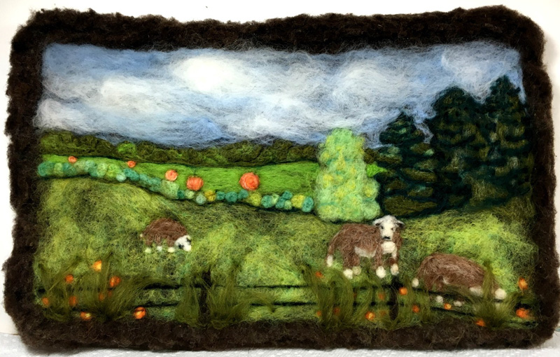 Sugar Island Countryside, a needle felting by Judy Colein